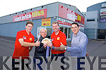 Mary Fortune, Ardfert winner of the Right Price Tiles €1000 give a way Pictured l-r Colin House, Bathrooms 4 U, Mary Fortune, Ardfert, Gene O'Keefe, Right Price Tiles, Brian Brosnan, Munster Robes and Kitchens