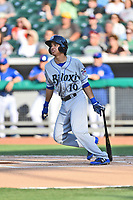 Biloxi Shuckers shortstop Mauricio Dubon (10) swings at a pitch during a game against the Tennessee Smokies at Smokies Stadium on May 26, 2017 in Kodak, Tennessee. The Smokies defeated the Shuckers 3-2. (Tony Farlow/Four Seam Images)
