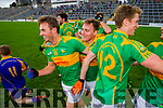 Paul O'Donoghue and Paul O'Connor South Kerry team celebrate winning the County Senior Football Semi Final over Kenmare at Fitzgerald Stadium Killarney on Sunday.