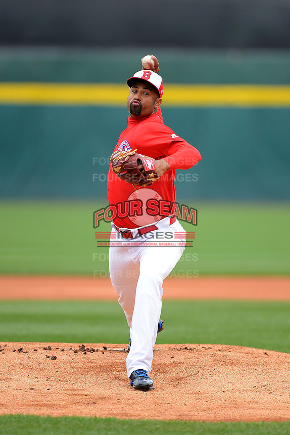 Buffalo Bisons pitcher Miguel Batista #31 during a game against the Norfolk Tides on May 9, 2013 at Coca-Cola Field in Buffalo, New York.  Norfolk defeated Buffalo 7-1.  (Mike Janes/Four Seam Images)