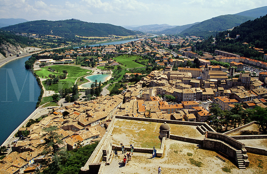 Sisteron. View of town and River Durance from the Citadel. France. Alpes de Haute Provence. The Gateway of Provence..