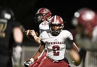 NWA Democrat-Gazette/CHARLIE KAIJO Springdale quarterback Conner Hutchins (7) looks for a receiver, Friday, November 1, 2019 during a football game at Bentonville High School in Bentonville.