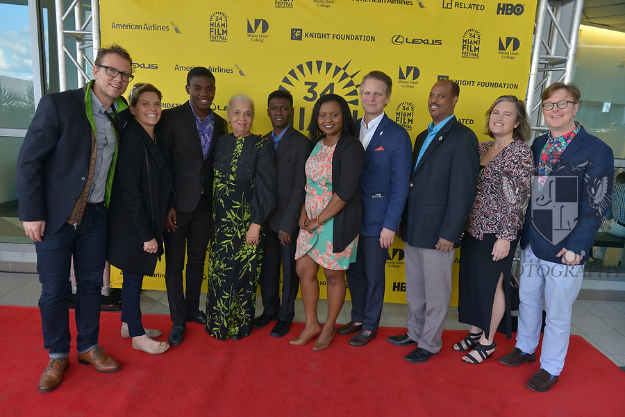 MIAMI, FL - MARCH 04: Colin Stanfield, Christy McGill, Mark Valens, Nicole St. Victor, Jean-Bernard Desinat, Bernadette Williams, Owsley Brown, David César, Anne Flatté and Phillip Wilde attend the Miami Film Festival screening for 'Serenade for Haiti' at Regal South Beach on March 4, 2017 in Miami, Florida.  ( Photo by Johnny Louis / jlnphotography.com )