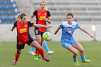 Bridgeview, IL, USA - Saturday, April 23, 2016: Western New York Flash midfielder Meredith Speck (25) and Chicago Red Stars defender Arin Gilliland (3) during a regular season National Women's Soccer League match between the Chicago Red Stars and the Western New York Flash at Toyota Park. Chicago won 1-0.