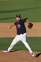 Adrian Houser (28) of the Lancaster JetHawks pitches during a game against the Visalia Rawhide at The Hanger on June 16, 2015 in Lancaster, California. Lancaster defeated Visalia, 11-3. (Larry Goren/Four Seam Images)