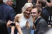 London, UK. 9 May 2016. Jennifer Lawrence interacts with X-Men fans. American actress Jennifer Lawrence (Raven/Mystique) attends the X-Men: Apocalypse - Global Fan Screening at the BFI Imax cinema in London.