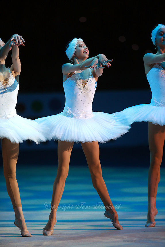 (Center) Daria Dmitrieva of Russia (junior) perform freehands rhythmic and ballet gala exhibition with combined Russian group at 2008 European Championships at Torino, Italy on June 7, 2008.  Photo by Tom Theobald.