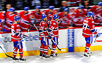 20 December 2008: The Montreal Canadiens celebrate a third period goal by left wing forward Sergei Kostitsyn (74) from Belarusse during the third period against the Buffalo Sabres at the Bell Centre in Montreal, Quebec, Canada. With both teams coming off wins, the Canadiens extended their winning streak by defeating the Sabres 4-3 in overtime. ***** Editorial Sales Only ***** Mandatory Photo Credit: Ed Wolfstein Photo