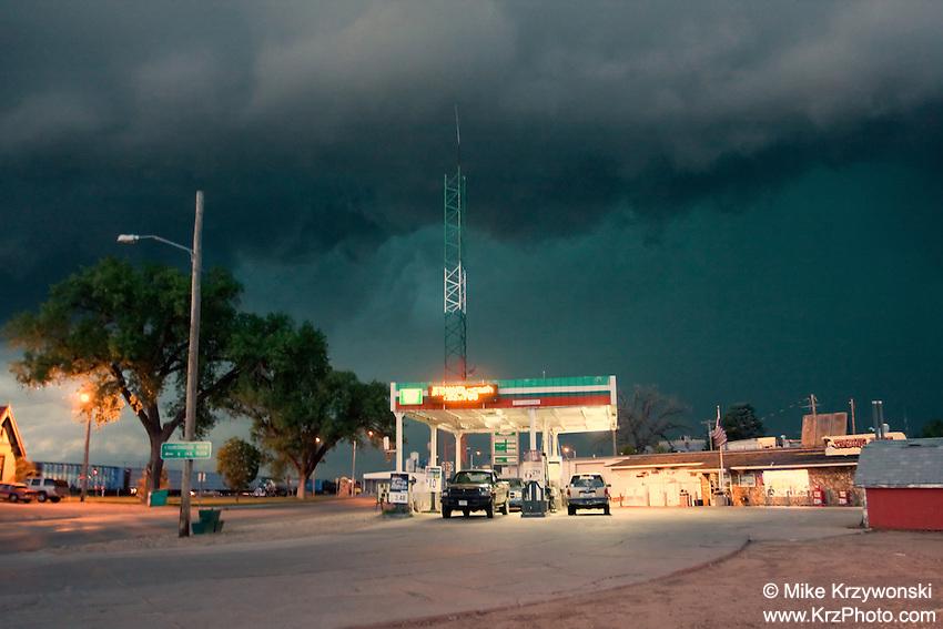 Ominous dark storm behind a gas station approaching Bridgeport, NE, June 7, 2010