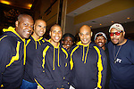 "Thaddeus Daniels - Delano Barbosa - Jeantique Oriol - Ade Otukoya  - Melvin Huffnagle - Lamar K. Cheston - Layon Gray - The National Black Theatre Festival during the full week of August 8, 2015 - The Layon Gray American Theatre Company presents ""Kings of Harlem"" written and directed by Layon Gray and starring him and the cast - Melvin Huffnagle, Thaddeus Daniels, Lamar K. Cheston, Delano Barbosa, Jeantique Oriel and Ade Otukoya with performances at the festival. These photos are from the rehearsal at the Haynes Hosery Recreation Center, Winston-Salem, NC. The festival is an International Celebration and Reunion of Spirit. (Photo by Sue Coflin/Max Photos)"