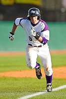 Dane McDermott #9 of the High Point Panthers hustles down the third base line to score a run against the Manhattan Jaspers at Willard Stadium on March 9, 2012 in High Point, North Carolina.  The Panthers defeated the Jaspers 11-6.  (Brian Westerholt/Four Seam Images)
