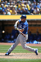 OAKLAND, CA - APRIL 16:  Eric Hosmer #35 of the Kansas City Royals bats against the Oakland Athletics during the game at the Oakland Coliseum on Saturday, April 16, 2016 in Oakland, California. Photo by Brad Mangin