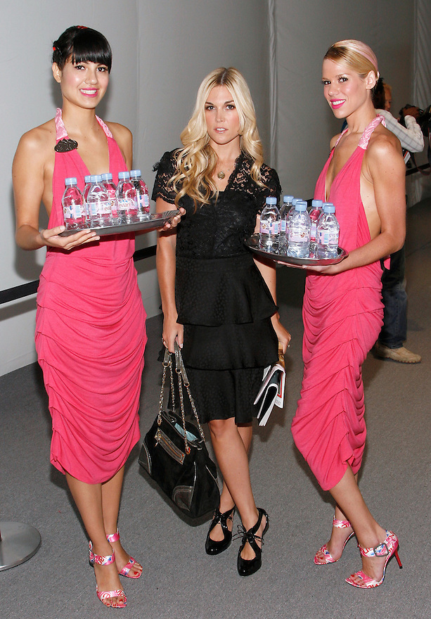Evian models with Tinsley Mortimer at the NY Fashion Week at Bryant Park on Sept 07,2008.(Soul Brother For Evian)
