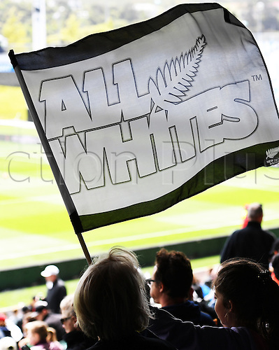 12.11.2016. Auckland, New Zealand.  Fans wave flags. New Zealand All Whites versus New Caledonia. Oceania Football Confederation stage 3 qualifier match for the FIFA World Cup in Russia 2018. QBE Stadium, Auckland, New Zealand.