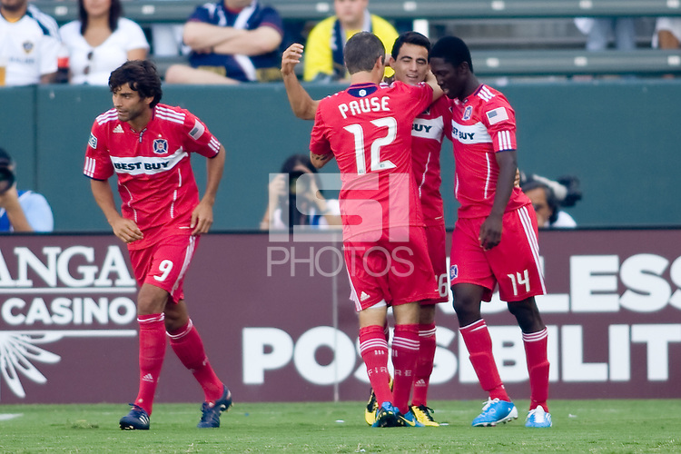 Chicago Fire midfielder Marco Pappa celebrates his goal with teammates Logan Pause & Patrick Nyarko. The Chicago Fire beat the LA Galaxy 3-2 at Home Depot Center stadium in Carson, California on Sunday August 1, 2010.