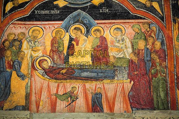 Painting on wall of Old Church, Sinaia Orthodox Holy Monastery, Sinaia, Prahova Valley, Transylvania, Romania