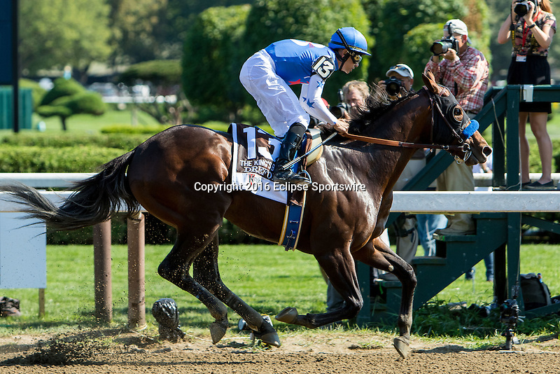 SARATOGA SPRINGS - AUGUST 27: Drefong #13, ridden by Mike Smith, wins the Ketel One King's Bishop Stakes on Travers Stakes Day at Saratoga Race Course on August 27, 2016 in Saratoga Springs, New York. (Photo by Sue Kawczynski/Eclipse Sportswire/Getty Images)