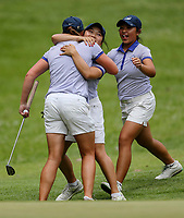 Siyi Key and Carmin Lim of Auckland cpngratulate Brittney Dryland after Dryland won her semi final match. Day Four of the Toro Interprovincial Women's Championship, Sherwood Golf Club, Whangarei,  New Zealand. Friday 8 December 2017. Photo: Simon Watts/www.bwmedia.co.nz