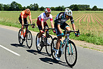 The breakaway featuring Yoann Bagot (FRA) Vital Concept-B&B Hotels, Stephane Rossetto (FRA) Cofidis and Alessandro De Marchi (ITA) CCC Team in action during Stage 5 of the Criterium du Dauphine 2019, running 201km from Boen-sur-Lignon to Voiron, France. 13th June 2019.<br /> Picture: ASO/Alex Broadway | Cyclefile<br /> All photos usage must carry mandatory copyright credit (© Cyclefile | ASO/Alex Broadway)