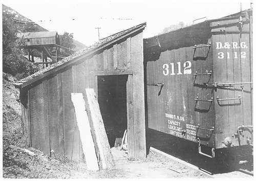 D&amp;RG box car #3112 at Porter Mine scalehouse.<br /> RGS  Porter, CO  ca 1909