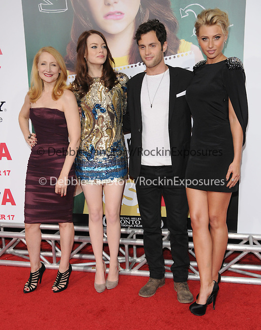 """Patricia Clarkson,Emma Stone,Penn Badgley and Aly Michalka at the Screen Gems' L.A. Premiere of """"Easy A"""" held at The Grauman's Chinese Theatre in Hollywood, California on September 13,2010                                                                               © 2010 Hollywood Press Agency"""