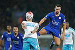 Danny Drinkwater of Leicester City competes with Aleksander Mitrovic of Newcastle during the Barclays Premier League match at The King Power Stadium.  Photo credit should read: Malcolm Couzens/Sportimage