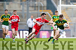Michael Potts Kerry in action against Paddy Quigg Derry in the All Ireland Minor Quarter Final at Croke Park on Sunday.