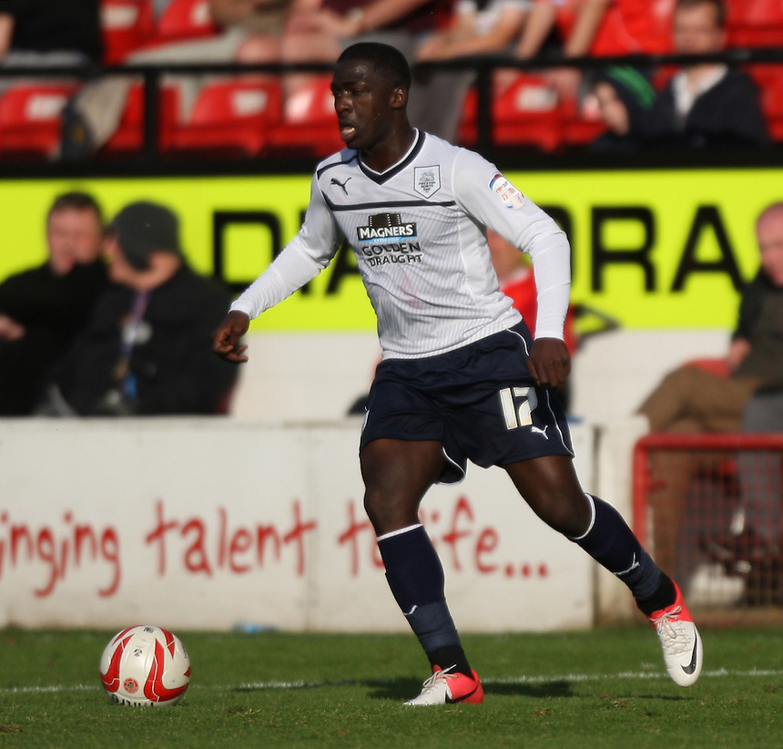 Preston North End's Jeffrey Monakana..Football - npower Football League Division One - Walsall v Preston North End - Saturday 22nd September 2012 - Banks's Stadium - Walsall..