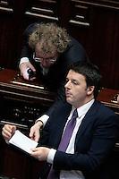 Luca Lotti e Matteo Renzi<br /> Roma 25-02-2014 Camera. Voto di fiducia al nuovo Governo.<br /> Senate. Trust vote for the new Government.<br /> Photo Samantha Zucchi Insidefoto