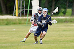 GER - Hannover, Germany, May 30: During the Men Lacrosse Playoffs 2015 match between HLC Rot-Weiss Muenchen (blue) and KKHT Schwarz-Weiss Koeln (weiss) on May 30, 2015 at Deutscher Hockey-Club Hannover e.V. in Hannover, Germany. Final score 5:6. (Photo by Dirk Markgraf / www.265-images.com) *** Local caption *** Stefan Goeser #77 of KKHT Schwarz-Weiss Koeln, Robert Hofmockel #10 of HLC Rot-Weiss Muenchen
