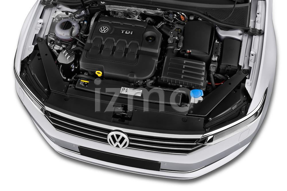 Car Stock 2015 Volkswagen Passat Comfort 5 Door Wagon Engine high angle detail view