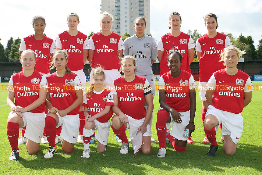 Arsenal Ladies pose for a team photo - Arsenal Ladies vs Lincoln Ladies - FA Womens Super League Continental Tyres Cup Semi-Final at Boreham Wood FC - 11/09/11 - MANDATORY CREDIT: Gavin Ellis/TGSPHOTO - Self billing applies where appropriate - 0845 094 6026 - contact@tgsphoto.co.uk - NO UNPAID USE.