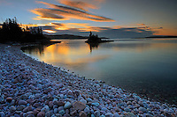 Dawn on rocky shoreline of Lake Superior<br /> Rossport<br /> Ontario<br /> Canada