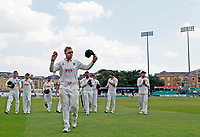 Simon Harmer leads the Essex players off te pitch having taken six wickets during Essex CCC vs Warwickshire CCC, Specsavers County Championship Division 1 Cricket at The Cloudfm County Ground on 16th July 2019