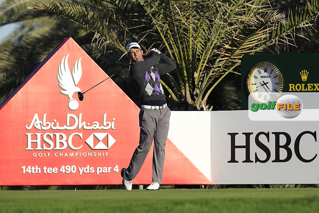 Ricardo Santos (POR) tees off the 14th tee during Friday's Round 2 of the Abu Dhabi HSBC Golf Championship at Abu Dhabi Golf Club, 18th January 2013 (Photo Eoin Clarke/www.golffile.ie)
