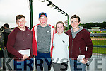 l-r  Padraig Marks, Ben Spencer, Shauna Fitzgerald and David Williams at the   Friends of University Hospital Kerry fundraising Night at the Dogs at the Kingdom Greyhound Stadium on Friday
