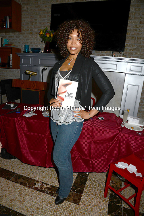 "Tia Dionne Hodge-Jones , who was on One Life to Live,at her book signing party on May 29, 2014 at Tryp by Wyndham Times Square South in New York City, New York, USA. The Book is called ""Play. Speak. Modern Monologues for the Modern Young Actor""."