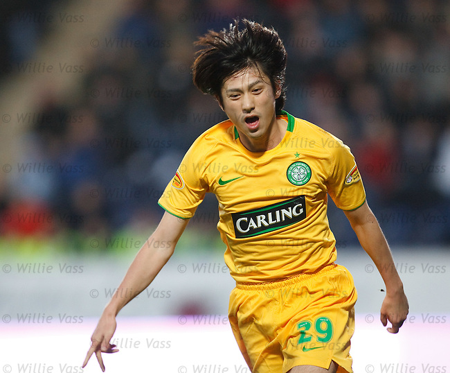 Koki Mizuno celebrates his goal for Celtic