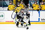 Stockholm 2014-11-16 Ishockey Hockeyallsvenskan AIK - IF Bj&ouml;rkl&ouml;ven :  <br /> Bj&ouml;rkl&ouml;vens Lucas Sandstr&ouml;m faller under ett br&aring;k med AIK:s Theodor Lennstr&ouml;m i samband med att AIK:s David Lilliestr&ouml;m Karlsson gjort 2-1 och d&auml;r linjedomarna Emil Wernstr&ouml;m och Jimmy Andersson f&aring;r g&aring; emellan <br /> (Foto: Kenta J&ouml;nsson) Nyckelord:  AIK Gnaget Hockeyallsvenskan Allsvenskan Hovet Johanneshov Isstadion Bj&ouml;rkl&ouml;ven L&ouml;ven IFB slagsm&aring;l br&aring;k fight fajt gruff