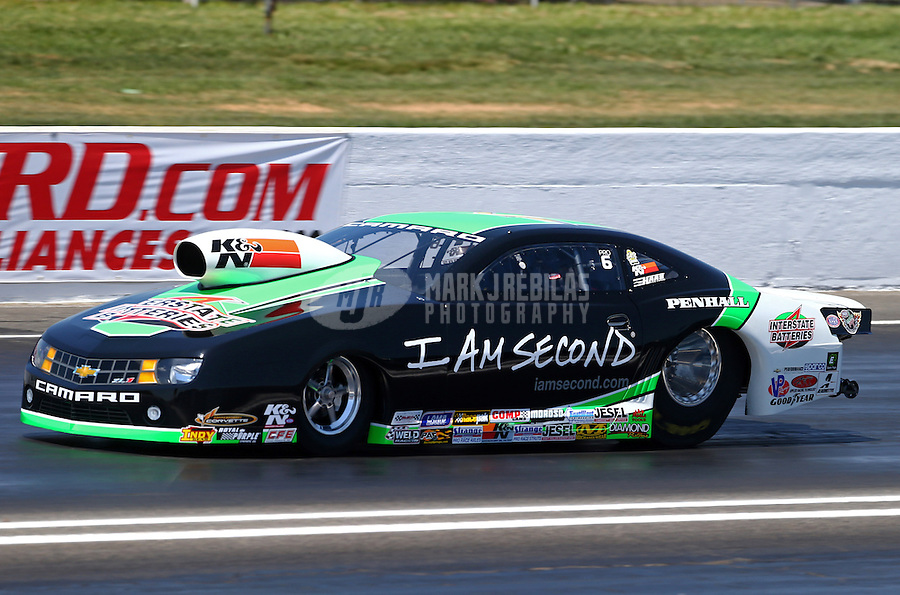 Jun. 1, 2013; Englishtown, NJ, USA: NHRA pro stock driver Mike Edwards during qualifying for the Summer Nationals at Raceway Park. Mandatory Credit: Mark J. Rebilas-