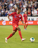 KANSAS CITY, KS - JUNE 26: Kevin Galvan #6 defends against Reggie Cannon #14 during a game between Panama and USMNT at Children's Mercy Park on June 26, 2019 in Kansas City, Kansas.