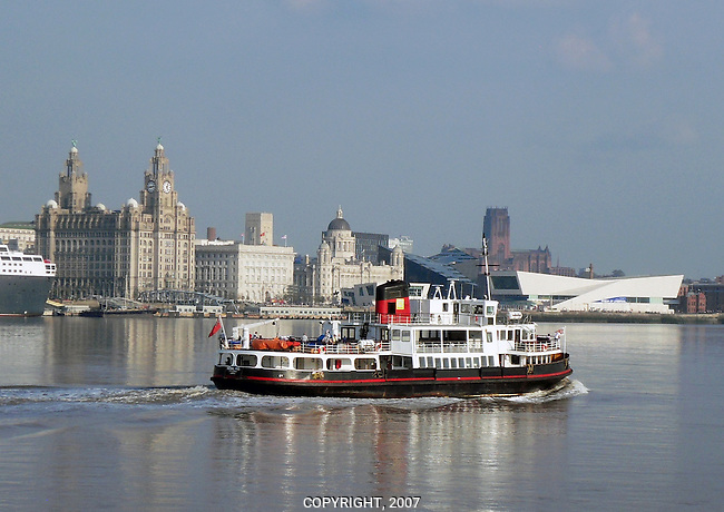 Mersey Ferry And Liverpool Waterfront