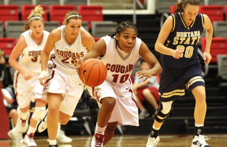 Danielle LeNoir (#10), Washington State freshman guard, streaks down court on the fast break during the Cougars game against Montana State in Pullman, Washington, on November 23, 2008.  The Cougars prevailed in the contest, 78-66.