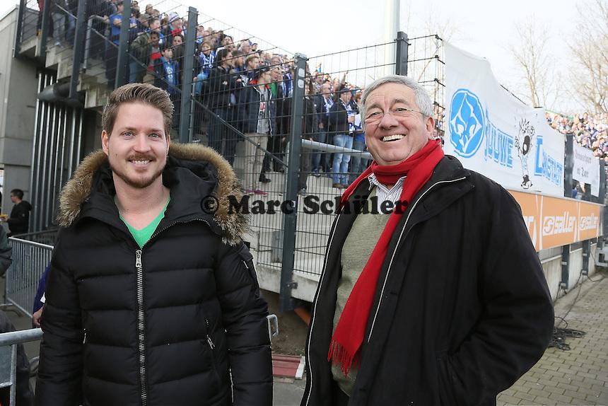Frankfurt Galaxy Geschäftsführer Matthias Mämpel und der ehemalige Stadionsprecher der NFL Europa Frankfurt Galaxy Werner Reinke besuchen das Rhein-Main Derby - FSV Frankfurt vs. SV Darmstadt 98, Frankfurter Volksbank Stadion