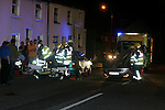 Drogheda fire service attended an rta on Mary street where a car hit the rear of another and flipped over onto its roof. The single occupant of the accident was removed to Our lady of Lourdes Hospital in Drogheda..Photo: Newsfile/Fran Caffrey.