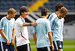 14.08.2012, Commerzbank Arena, Frankfurt, Hannover 96 Training, im Bild Joachim Loew (Bundestrainer Deutschland) klopft Mesut Oezil (8, Deutschland) auf die Schulter<br /> <br /> // during the German National Team Training, Commerzbank Arena, Frankfurt, Germany, on 2012/08/14,<br /> Foto © nph / Sielski *** Local Caption ***