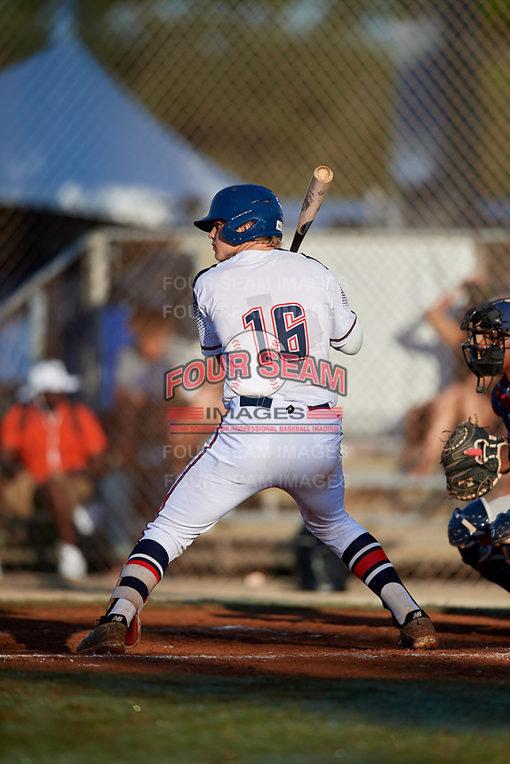 Sam Crowell during the WWBA World Championship at the Roger Dean Complex on October 21, 2018 in Jupiter, Florida.  Sam Crowell is a catcher from Rockwall, Texas who attends Rockwall-Heath High School.  (Mike Janes/Four Seam Images)