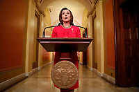 Speaker of the United States House of Representatives Nancy Pelosi speaks to the media