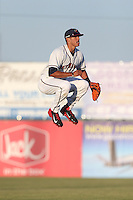 Carlos Correa #1 of the Lancaster JetHawks leaps in the air at the start of a game against the Lake Elsinore Storm at The Hanger on April 4, 2014 in Lancaster, California. Lake Elsinore defeated Lancaster, 6-1. (Larry Goren/Four Seam Images)