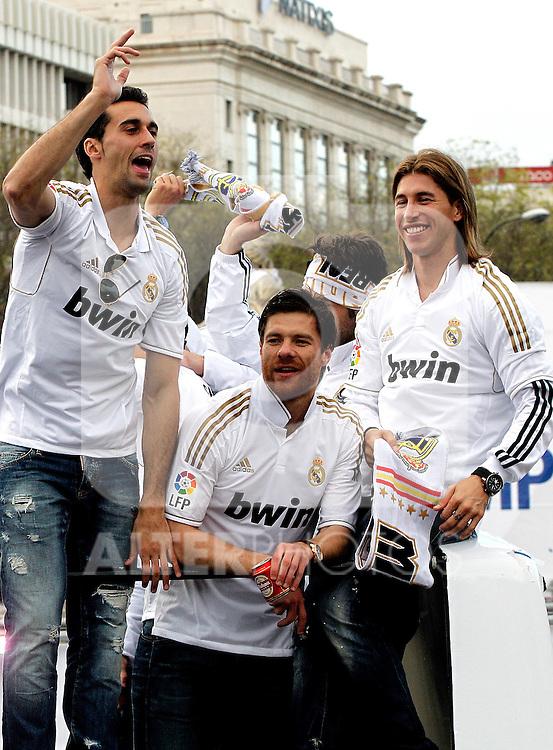 Real Madrid´s Alvaro Arbeloa (l), Xabi Alonso (c) and Sergio Ramos Champion of La Liga, 2012/May/03..(ALTERPHOTOS/ARNEDO & ALCONADA)